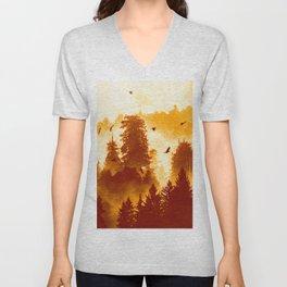 Forest Inception - Vintage Orange Fall Color Nature Landscape Unisex V-Neck