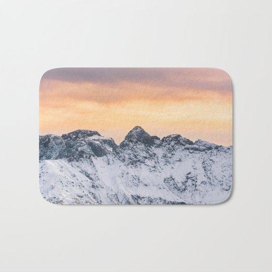Pastel Mountains #sunset Bath Mat