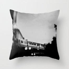 Black & White Chicago L Train photograph Throw Pillow