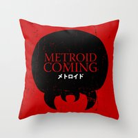 metroid Throw Pillows featuring House Metroid by Alecxps