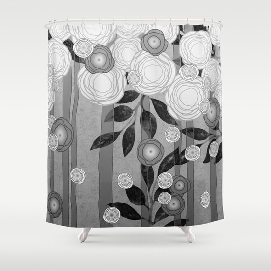 Black And White Flowers Design Shower Curtain By Oursunnycdays Society6