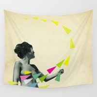 cassia beck Wall Tapestries featuring She's a Whirlwind by Cassia Beck