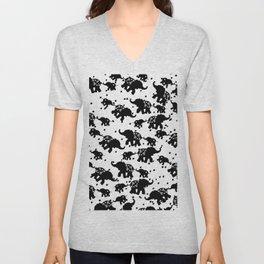 Abstract black white polka dots cute elephant Unisex V-Neck