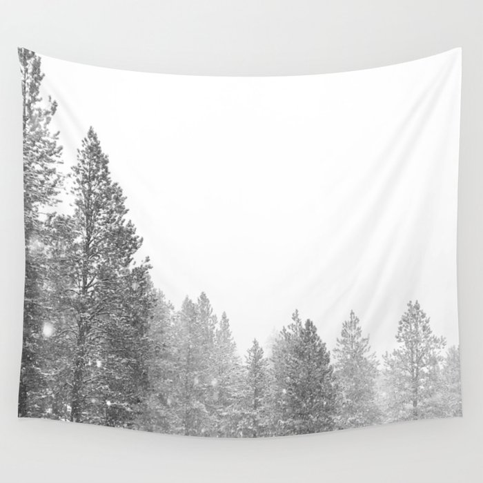 Winterland // Snowy Landscape Photography White Out Winter Pine Tree Artwork Wall Tapestry