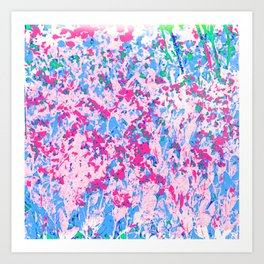 Floral Dance in Pink and Blue Art Print