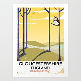 Gloucestershire England rail poster Art Print