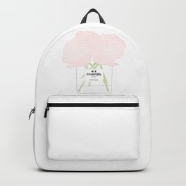 minimal no. 5 perfume with pink roses Backpack
