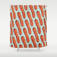 bacon Shower Curtains featuring Bacon Pattern by Kelly Gilleran