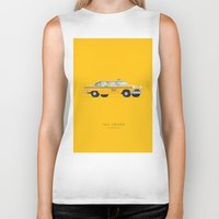 taxi driver Biker Tanks featuring Taxi Driver  | Famous Cars by Fred Birchal