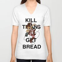 teen titans V-neck T-shirts featuring Kill Titans, Get Bread by Octoroxxx