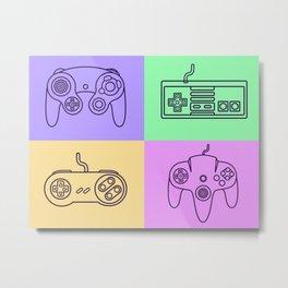 Nintendo Gaming Controllers - Retro Style! Metal Print