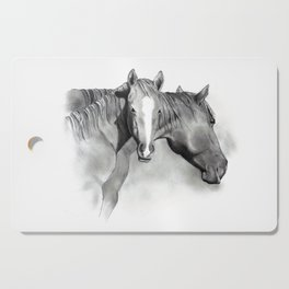 Horse Mare and Foal, Pencil Drawing, Equine Art Cutting Board
