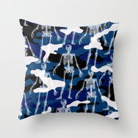 skeleton Throw Pillows featuring SKELETON by DIVIDUS