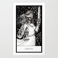 tarot Art Prints featuring Justice Tarot by Corinne Elyse