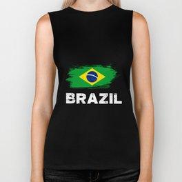 Brazil Brazilian Flag soccer Biker Tank