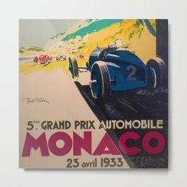 Vintage 1933 Monaco Grand Prix Car Advertisement Poster by Geo Ham Metal Print