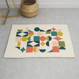 Mid Century Modern Abstract Colorful Shapes Funky Cool Minimalist Pattern Rug