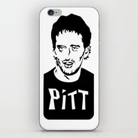 brad pitt iPhone & iPod Skins featuring Pitt by Chris McArdle
