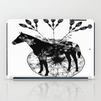 hiphop iPad Cases featuring Black and white horse and the flowers by JBLITTLEMONSTERS