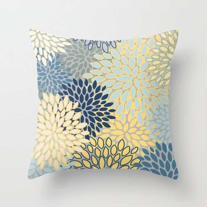 Floral Print, Yellow, Gray, Blue, Teal Throw Pillow by
