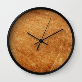 Vintage natural brown leather texture background Wall Clock