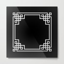 Black White Lattice Frame Metal Print