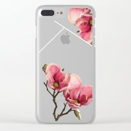 Pink Magnolia Blossoms Clear iPhone Case
