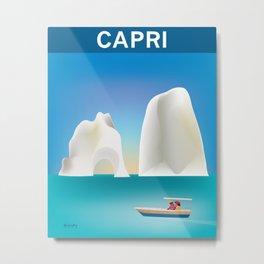 Capri, Italy- Skyline Illustration by Loose Petals Metal Print