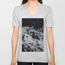 OCEAN - WAVES - SEA - ROCKS - DARK - WATER Unisex V-Neck