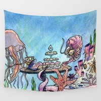 under the sea Wall Tapestries featuring Tea Under the Sea by Theresa Lammon
