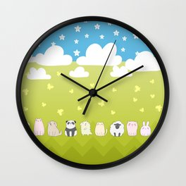 Cute Animals Art, Colorful Art with Clouds, Stars, Grass And Blue Sky Wall Clock