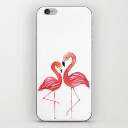 Flamingo Love Watercolor Painting iPhone Skin