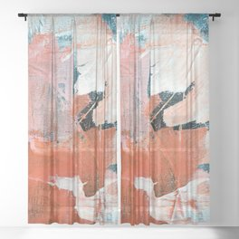 Interrupt [3]: a pretty minimal abstract acrylic piece in pink white and blue by Alyssa Hamilton Art Sheer Curtain