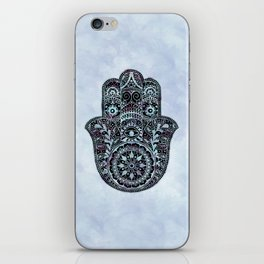 Watercolor Blue Pink Hamsa Hand iPhone Skin