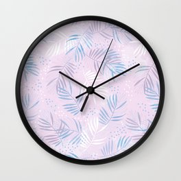 Elegant hand drawn tropical leaf pattern - pink and blue #tropicalart Wall Clock