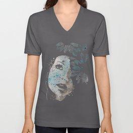 Lack Of Interest: (graffiti dark lady with daisies) Unisex V-Neck