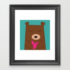 Bear in love Teal Framed Art Print