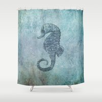 sea horse Shower Curtains featuring sea & horse by Steffi Louis