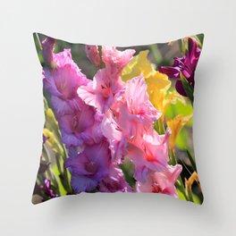 Colorful Gladiolus Throw Pillow