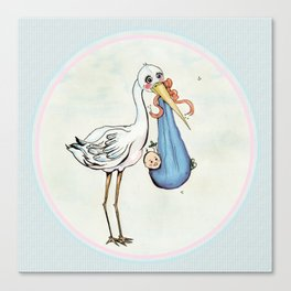 Miss Stork's Surprise: It's a Baby Canvas Print