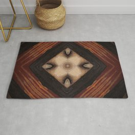 Tribal // Rustic Geometric Shapes Warm Symbol Brown Beige Square Masculine Strength Power Protection Rug
