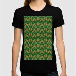 Green Sun & Mountains Abstract Retro T-shirt