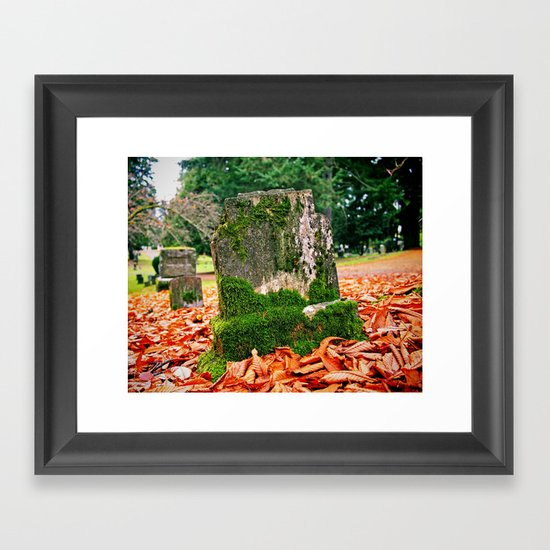 Autumn gravestone Framed Art Print