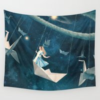 star Wall Tapestries featuring My Favourite Swing Ride by Paula Belle Flores