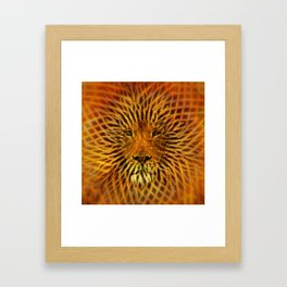 A design that incorporates zebra stripes and the face of a Lion Framed Art Print