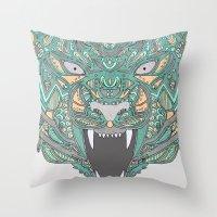 teeth Throw Pillows featuring Teeth by Alexandria Robinson