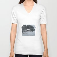 cabin V-neck T-shirts featuring Red Cabin by Accessorius