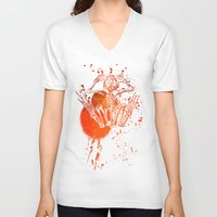 frog V-neck T-shirts featuring frog by DIVIDUS