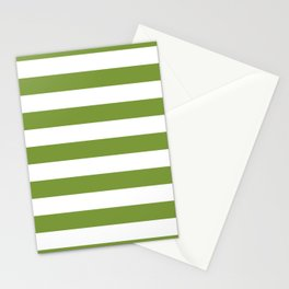Green and White Stripes Stationery Cards