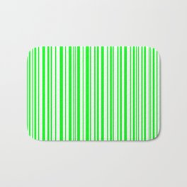 Lines, Lime green on white Bath Mat